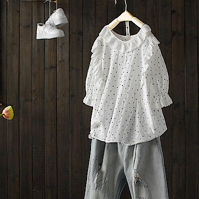 鈎花鏤空蕾絲棉t恤七分袖上衣-設計所在