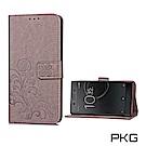 PKG SONY XZ Premium  側翻式皮套-精選皮套系列-幸運草-精緻灰