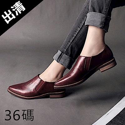 KEITH-WILL時尚鞋館 學院風英倫復古深口尖頭巴洛克鞋-酒紅色