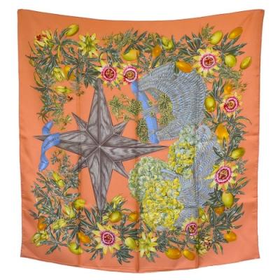 HERMES 經典Passiflores系列植物圖騰絲質方巾/披巾(粉橘色)