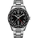Hamilton 漢米爾頓 Broadway 百老匯 GMT 限量機械錶-黑x銀/46mm