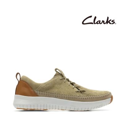 Clarks 步步清新 側邊開口鞋帶設計休閒鞋 砂岩色