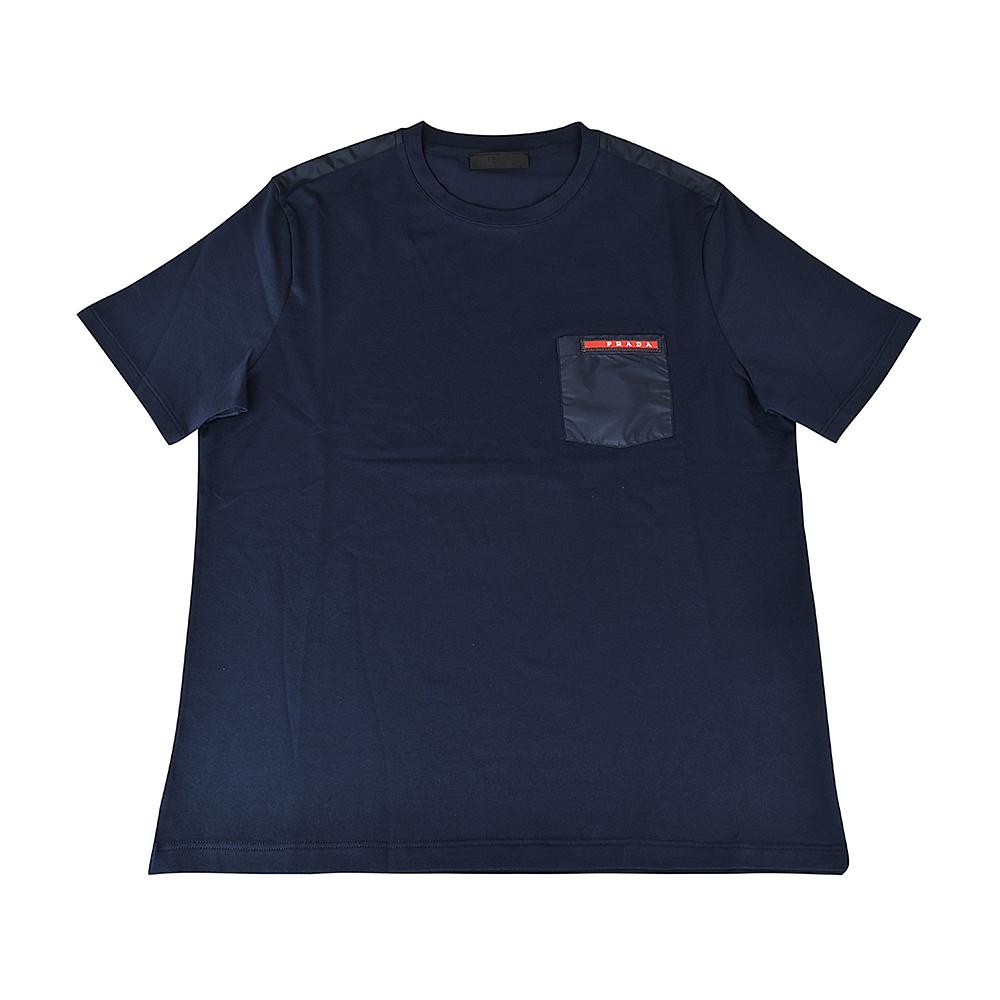 PRADA經典橡膠LOGO拼接口袋純棉短袖T恤(午夜藍) @ Y!購物