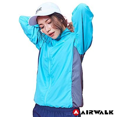 【AIRWALK】女款立領風衣外套-湖綠
