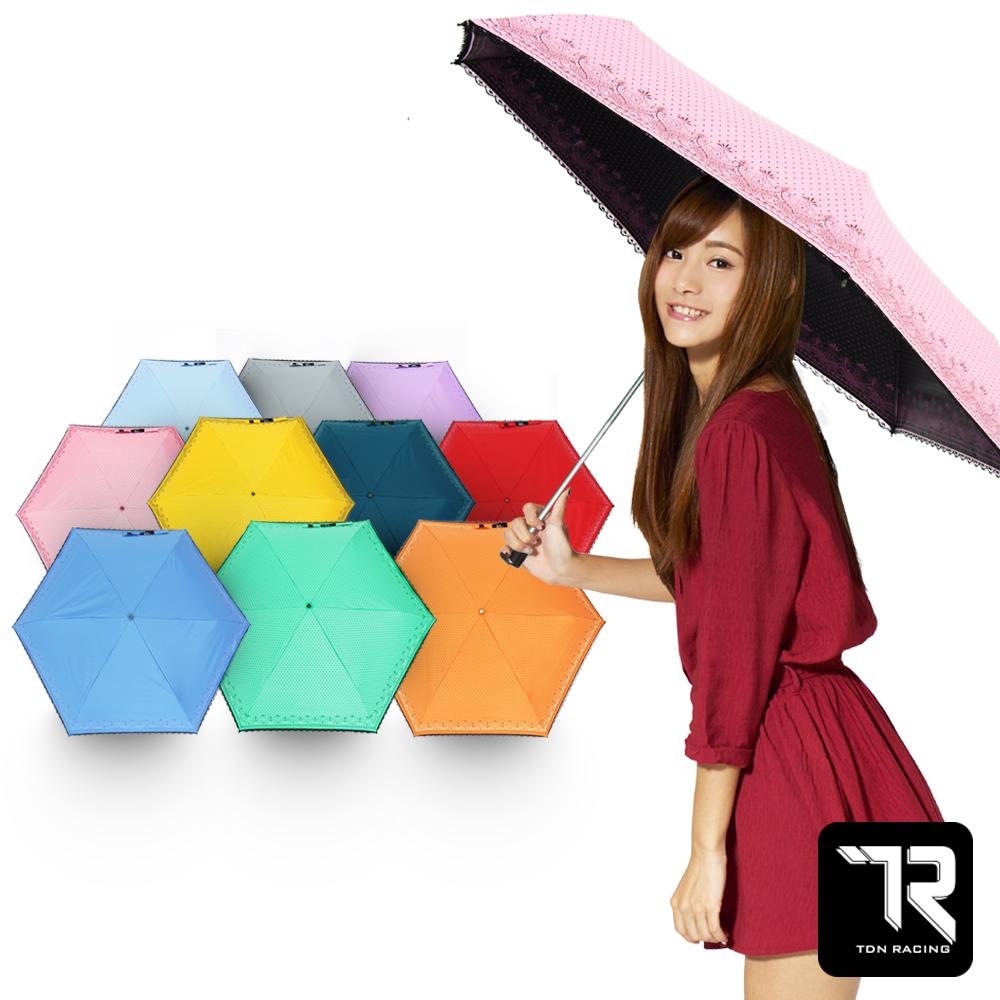 【TDN】降溫14度水玉巴洛克黑膠超輕量折傘/口紅傘 B6245A