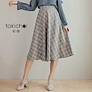 東京著衣 優雅復古格紋高腰大擺裙-S.M(共二色)