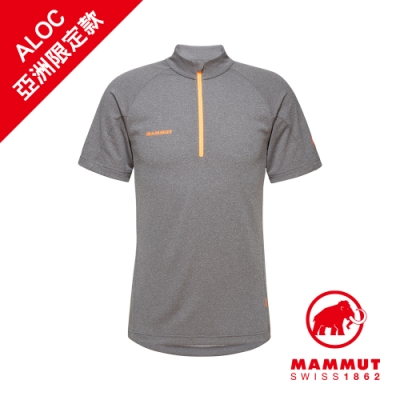 【Mammut 長毛象】Aegility Half Zip T-Shirt AF 立領半拉鍊短袖排汗衣 幻影黑/鮮橙 男款 #1017-01750