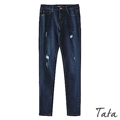 微刷破牛仔窄管褲 TATA