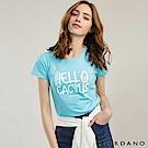 GIORDANO 女裝可愛植物印花短袖T恤-33 托帕石藍