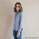 GIORDANO 女裝經典刺繡彈力牛津紡長袖襯衫-23 中藍