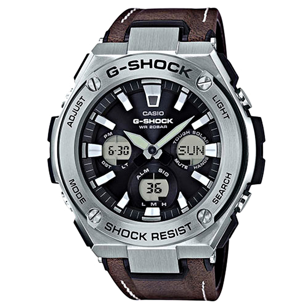 G-SHOCK創新突破分層防護絕對強悍休閒錶(GST-S130L-1A)咖啡皮革52.4m
