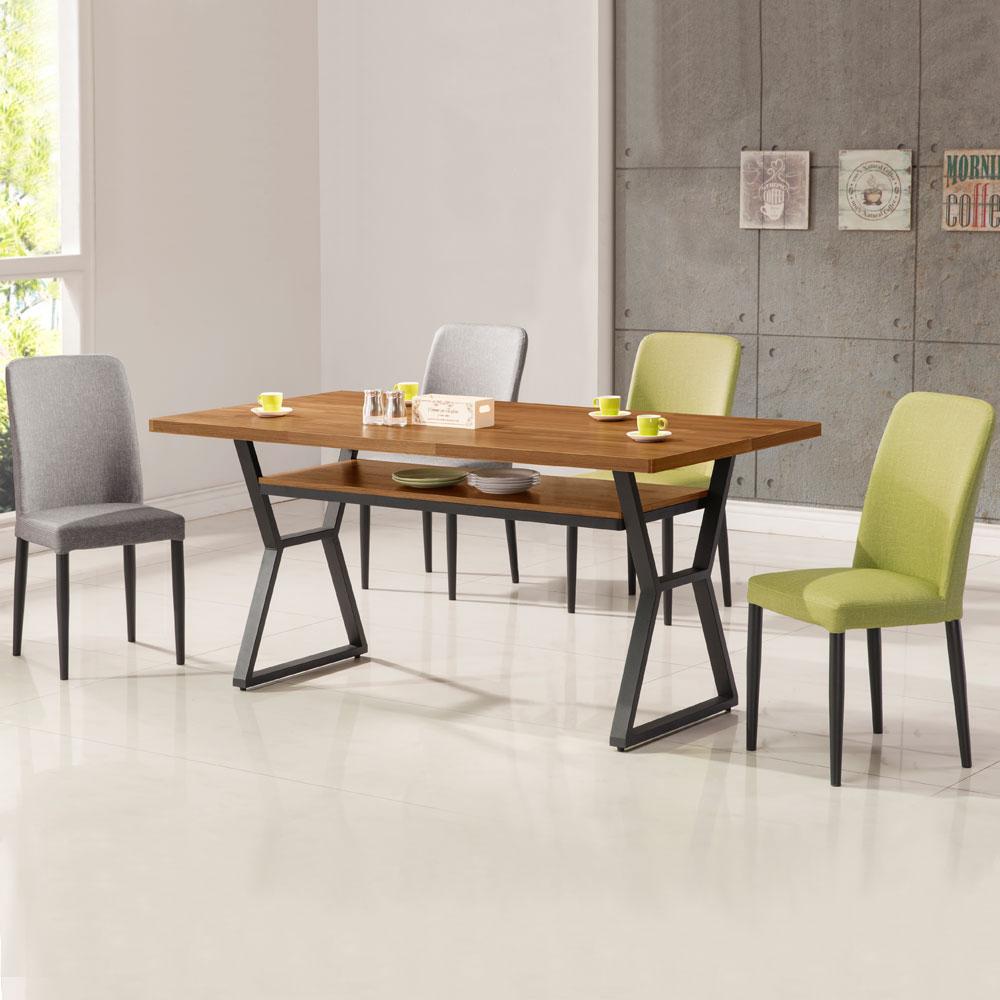 Homelike 德爾工業風5尺餐桌椅組(一桌四椅)-150x80x75cm