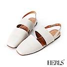 HERLS 舒服氣息 全真皮橫帶鏤空小方頭涼鞋-白色