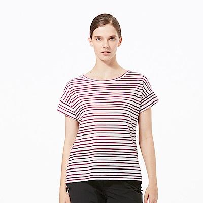 【HAKERS 哈克士】女 抗UV快乾條紋圓領衫-梅紅條