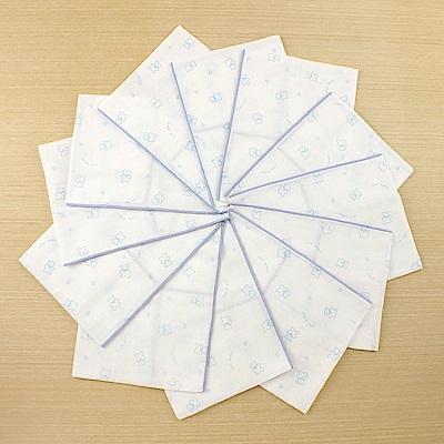 愛的世界 純棉小熊印花紗布浴巾2入x6包-藍色-台灣製-