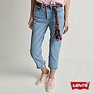 Levis 女款 501 Crop 中腰排釦直筒牛仔褲 不對稱不收邊褲管