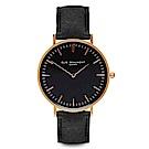 Elie Beaumont 英國手錶 牛津系列 黑錶盤x黑色環保皮革錶帶x玫瑰金框38mm