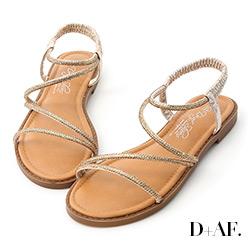 D+AF 閃耀假期.燙鑽細帶繫踝平底涼鞋*金