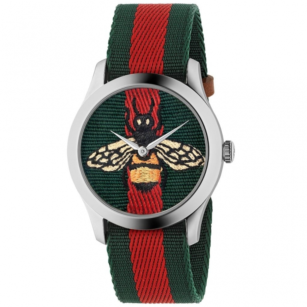 GUCCI G-Timeless精緻刺繡蜜蜂尼龍腕錶/綠紅/YA1264060