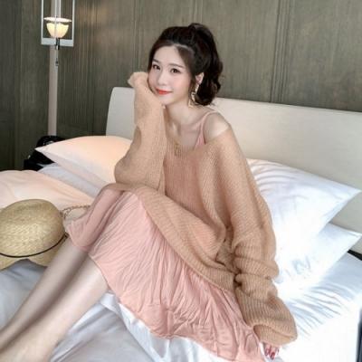La BellezaV領慵懶風素色寬鬆長版薄款針織上衣
