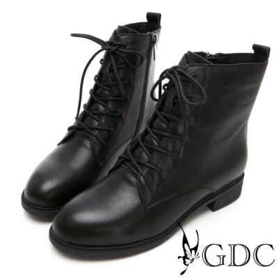 GDC-真皮經典馬丁軍靴款綁帶中筒靴-黑色