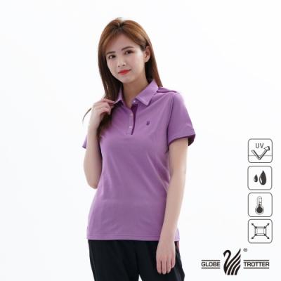 【遊遍天下】女款吸濕排汗抗UV機能POLO衫GS1033紫深紫