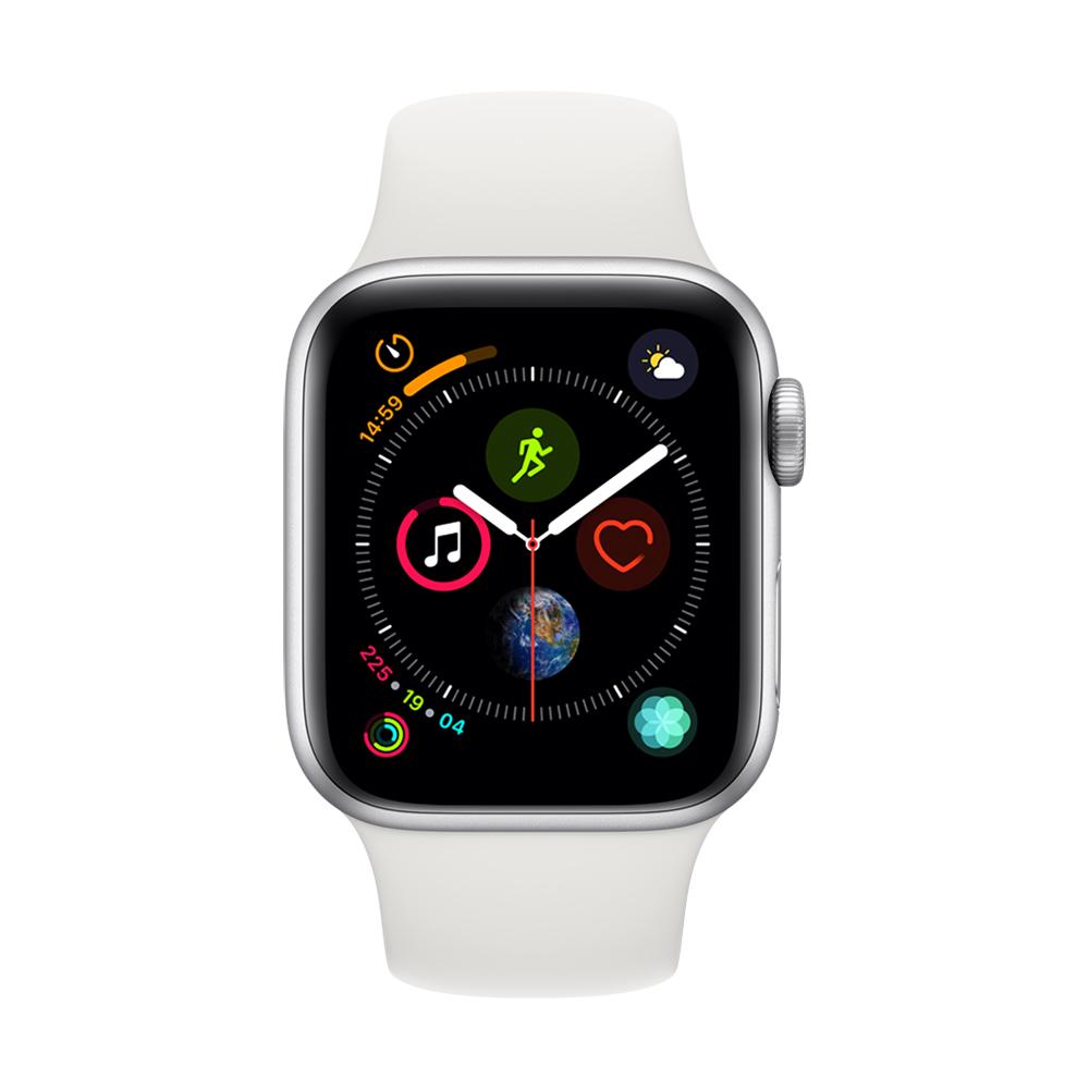 [無卡分期-12期] Apple Watch S4 +網路 40mm 銀色鋁錶殼搭白色錶帶