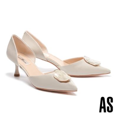 高跟鞋 AS 優雅時尚不規則飾釦全真皮尖頭高跟鞋-米