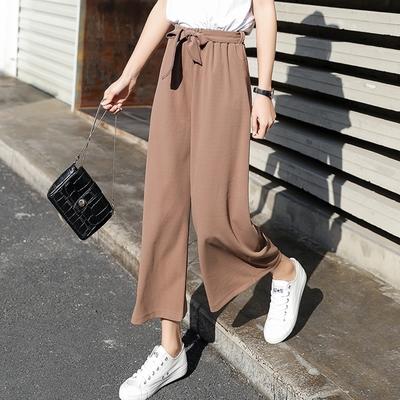 【KISSDIAMOND】韓系顯瘦修身鬆緊綁帶七分寬褲(KDP-6869)