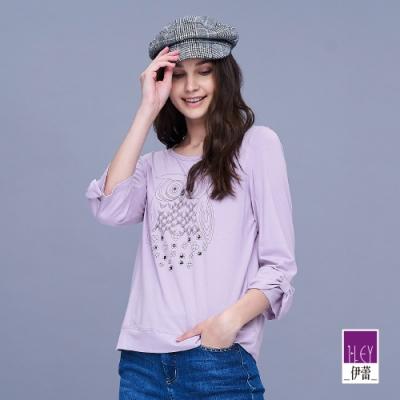 ILEY伊蕾 手工縫鑽貓頭鷹棉質上衣(紫/黃)