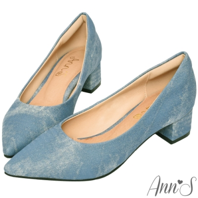 Ann'S加上優雅低跟版-牛仔沙發後跟低跟尖頭鞋-淺藍