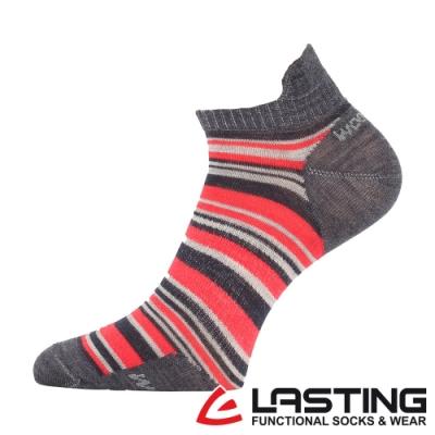 【LASTING捷克】男款美麗諾羊毛抗菌除臭吸濕排汗船型襪/運動襪LT-WPS紅黑條