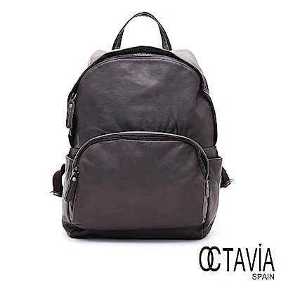 OCTAVIA8 真皮 - YEARS 簡約中性牛皮前大口袋後背包 - 蹦帥灰