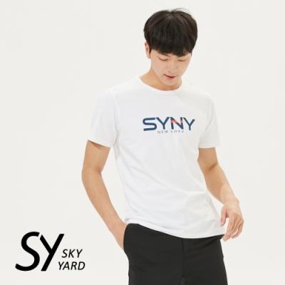 【SKY YARD 天空花園】撞色字體設計悠閒棉質上衣T恤-白色