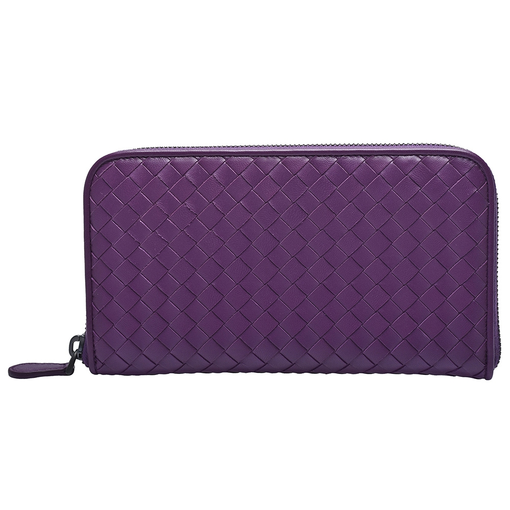 BOTTEGA VENETA 經典編織小羊皮拉鍊長夾(紫色)