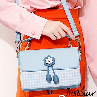 Just Star 桃樂絲清新格紋手提包 水漾藍