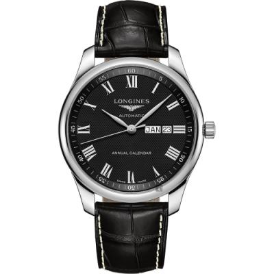 LONGINES 浪琴 Master 巨擘系列羅馬機械錶-黑/42mm (L29204517)
