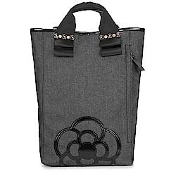 CLATHAS 山茶花裝飾丹寧織布手提後背包-黑色