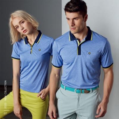 Abel Fox s Sports藍底黃邊男版短袖polo衫-WER705-26