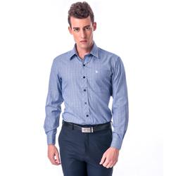 金‧安德森 藍黑寬格窄版長袖襯衫