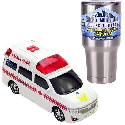 《救難車隊-救護車系列》燈光音效錄音磨輪車+冰霸杯組
