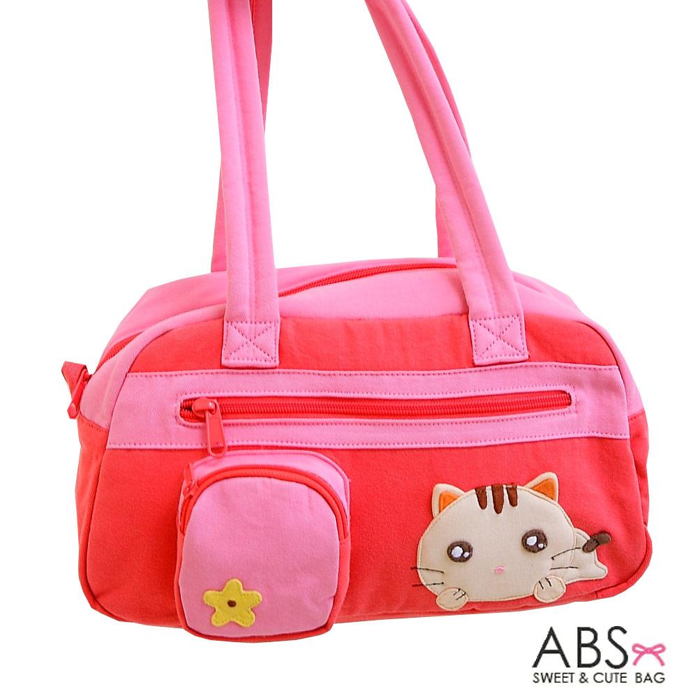 ABS貝斯貓 趴趴貓 拼布肩背包 手提包(甜心粉)88-109