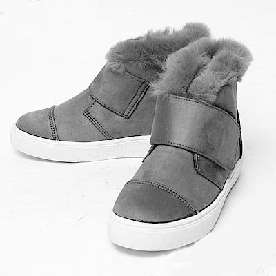 【AIRKOREA韓國空運】潮流魔鬼氈超保暖內鋪毛短筒靴平底靴-灰