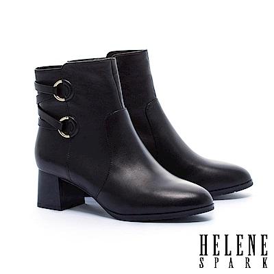 短靴 HELENE SPARK 簡約時尚金屬交叉繫帶釦全真皮粗高跟短靴-黑