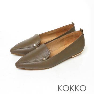 KOKKO無負擔小方頭素面真皮彎折平底鞋森林綠