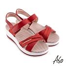 A.S.O 機能休閒 輕穩健康鞋金箔皮料條帶休閒涼鞋-桃粉紅