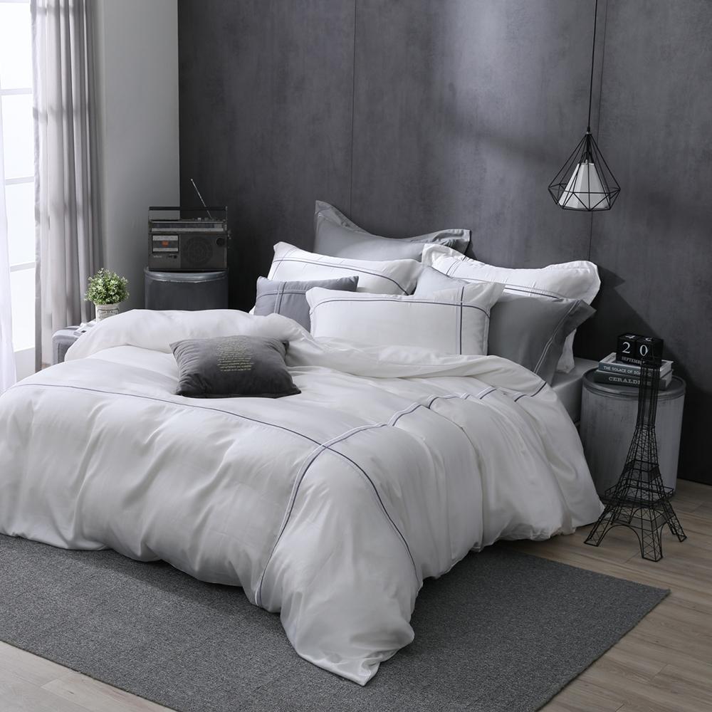 OLIVIA Alma 白 標準雙人床包冬夏兩用被套四件組 紫色繡線 天絲™萊賽爾