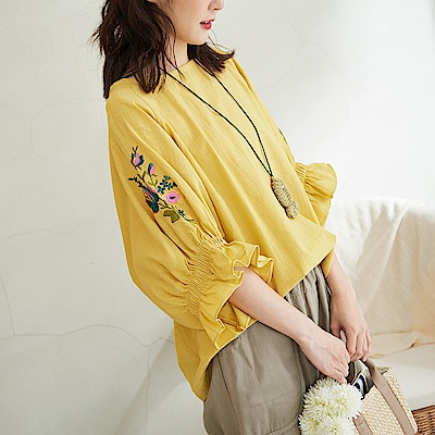 慢 生活彈性縮口喇叭袖上衣-F 黃色