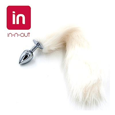 【in-n-out】白色狐狸尾巴不鏽鋼後庭肛塞(小號) 角色扮演
