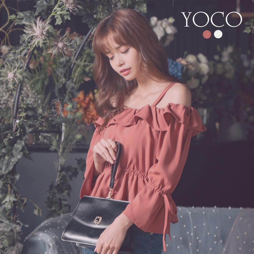東京著衣-YOCO 仙氣滿滿荷葉邊一字領縮腰上衣-S.M.L(共兩色)